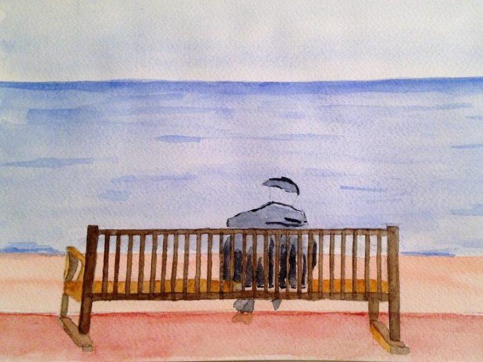 comment peindre rapidement un homme face la mer art express. Black Bedroom Furniture Sets. Home Design Ideas